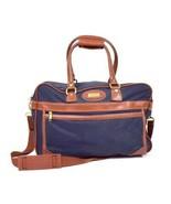 Vtg Jaguar Messenger Shoulder Bag Satchel Purse Blue Brown Canvas Faux L... - $18.80