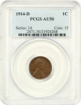 1914-D 1c PCGS AU50 - Key Date - Lincoln Cent - Key Date - $1,416.20