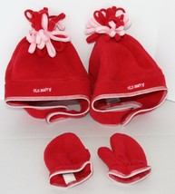 OLD NAVY Red Fleece Mittens 4T-5T and two Hats One Size Fits All, Velcro... - $9.89