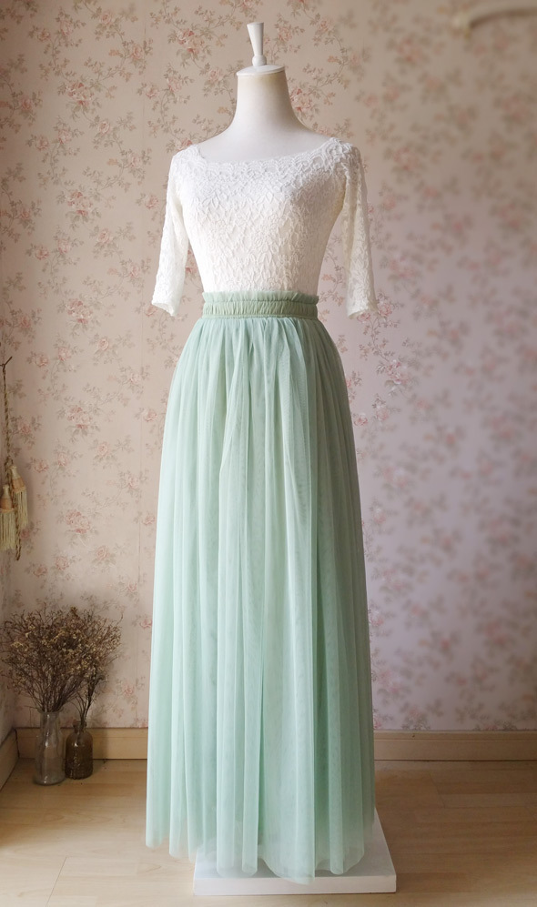 SAGE GREEN Maxi Tulle Skirt For Wedding Sage Green Wedding Bridesmaid Skirt,wd38