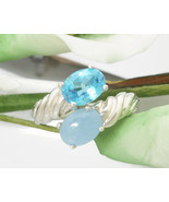 Blue Topaz and Blue Jade Ribbed Bypass Sterling Ring Size 7 - $53.00