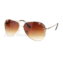 Women's Aviator Sunglasses Romantic Flower Decor Metal Frame - $9.95