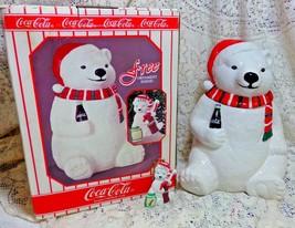 1996 Coca Cola Coke Polar Bear Cookie Jar Canister FREE Christmas ORNAME... - $49.99