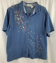 Bobbie Brooks Denim Shirt Size Large Embroidered Floral Button Front Casual - $12.58