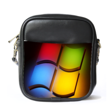 Sling Bag Leather Shoulder Bag Microsoft Logo Rainbow Design Animation - $14.00