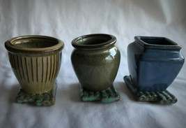"Set three 3 earthenware vases bamboo style base Approx 3.75"" tall round ... - $13.47"