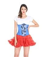 Blue Satin Corset Tissue Flocking Goth Burlesque Costume Waist Cincher U... - $64.34