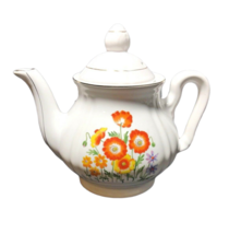 Teapot Coffee Cream Pot with Lid Orange Yellow Flowers White Japan Made ... - $19.79