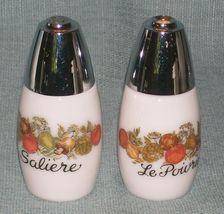Vtg SPICE OF LIFE Salt and Pepper Shakers- ChromeTops -Corelle Gemco Corning GU  image 10