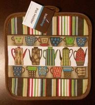 COFFEE KITCHEN SET 3pc Towels Potholder Colorful Cups Pots Stripes Brown NEW image 2