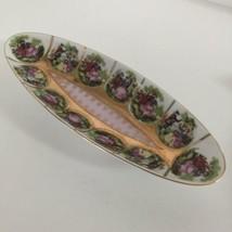 Arnart Victorian Couple Celery Dish Oval Gold Beading Japan 55/1102 Beehive - $29.66