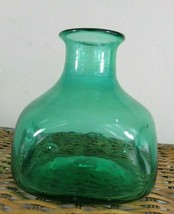 Pretty antique open pontil Green Glass Jar or vase.  Hand blown great sp... - $26.45