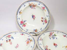 3 Antiq Mintons Porcelain Rimmed Soup Bowls 1873-91 Blue Rim Painted Flo... - $43.56