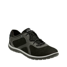 Clarks Women's Aria Lace Up Sneaker Black Leather 16897 - $64.88