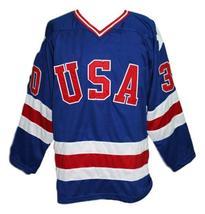Custom Name # Team USA Retro Hockey Jersey New Blue Craig #30 Any Size image 3