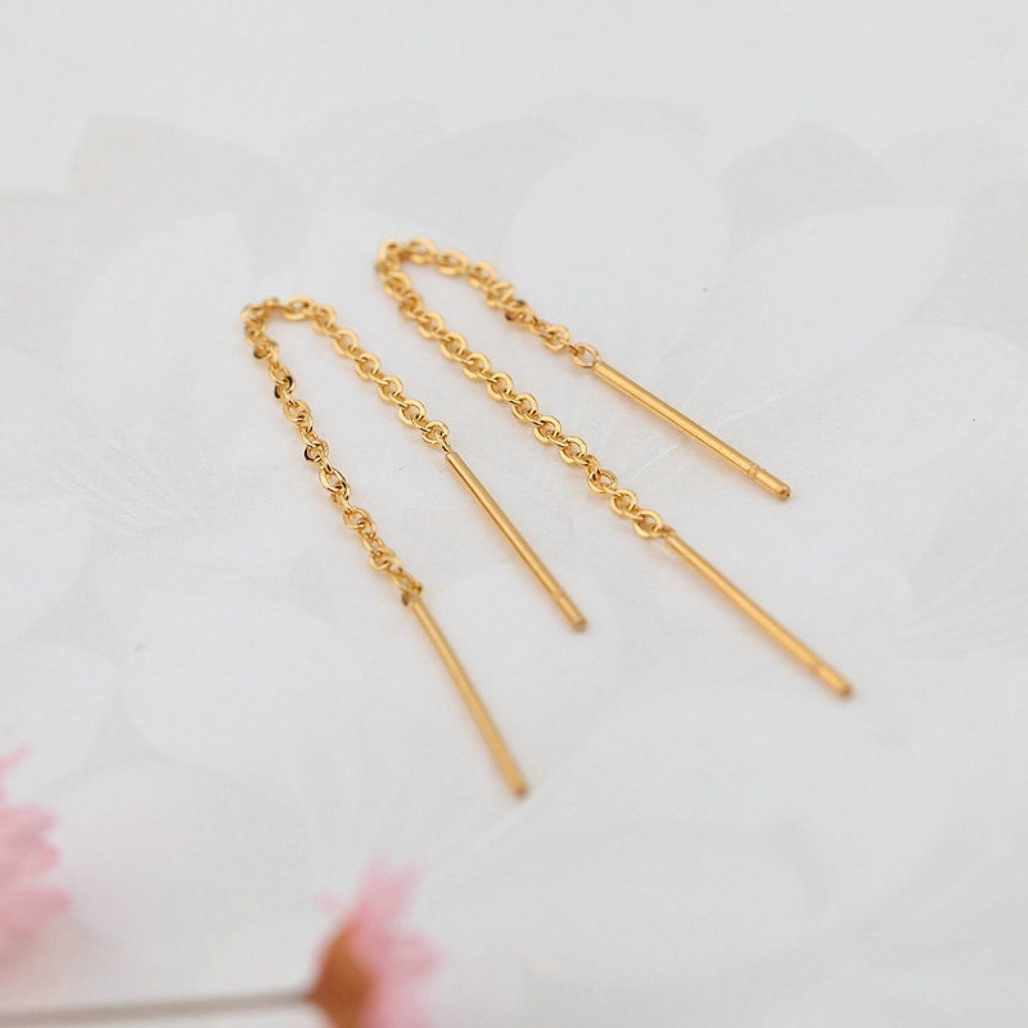 Drop Earrings Jewelry Top Quality Simple Spiral Ear Line Gold Color Fashion 2018