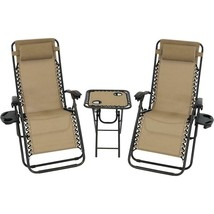 Folding Beach Chairs with Side Table Set of Two Brown Lounge Reclining R... - $167.16