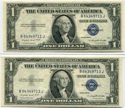(2) 1935G $1 Silver Certificate, Near sequential - Choice to Gem Uncircu... - $45.00