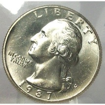 1987-D Washington Quarter In the Cello MS65 #711 - $4.79