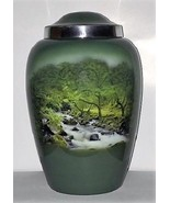 Large/Adult 200 Cubic In. Mountain Stream Aluminum Funeral Cremation Urn... - $169.99
