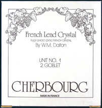 2 French Lead Crystal Goblets No. 1 W M Dalton Cherbourg Made in France - $15.76