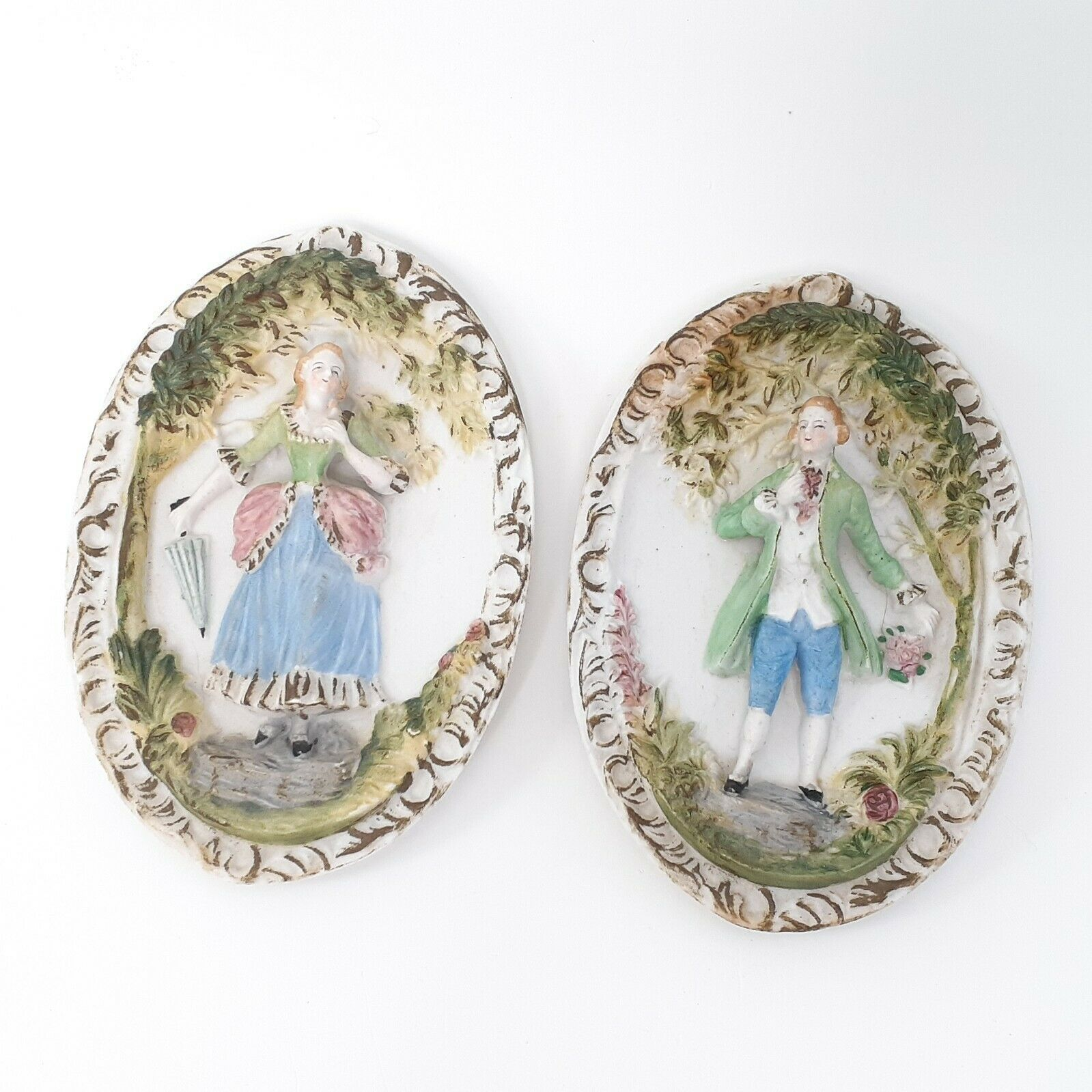 """Hand Painted Pastel Bisque Wall Plaques, Colonial Pair. """"Occupied Japan"""""""