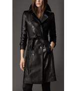 Women's 100% Real Lambskin Luxury Soft Leather Trench Black Coat Custom ... - $220.50+