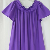 Vintage 80s ShadowLine Purple Nightgown Size M Knee Length Nylon  - $39.55