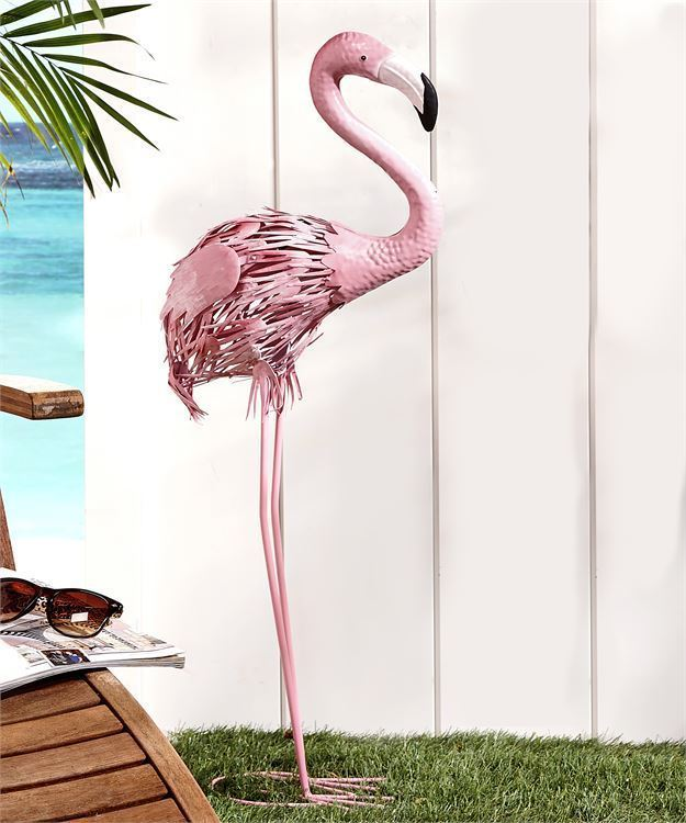 "Set of 2 - 32.9"" High -  Pink Flamingo Metal Standing Garden Statues Yard Decor"