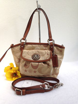 COACH LEAH Sateen Tote Conv. in Khaki/Brown Satchel Crossbody - Style 14... - $79.19