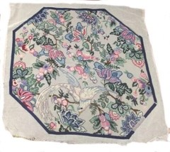 Vintage Large Needlepoint Needle Point Octagonal Rug Wall Hanging Bird Floral - $123.75