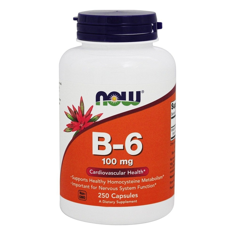NOW Foods Vitamin B6 100 mg., 250 Capsules - $13.09