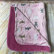 Just Born Pink Sherpa Baby Crib Blanket Bunny Rabbit Trees Flowers Leave... - $33.24