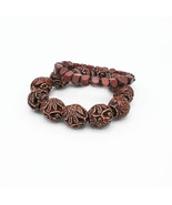 Two Stretch  Bracelets Wood and Carved Resin Beads - $20.00