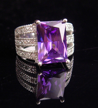 HUGE Amethyst Ring / sterling ring for her / pave cz band / February bir... - $155.00