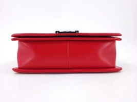 AUTHENTIC CHANEL RED LAMBSKIN QUILTED MEDIUM BOY FLAP BAG RHW image 2