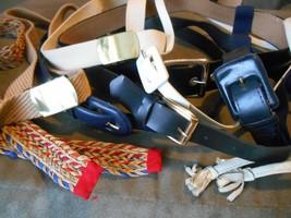 Old Vintage Mixed Lot of 9 Belts  - Blue Black White Color Tie Slide Buc... - $9.99
