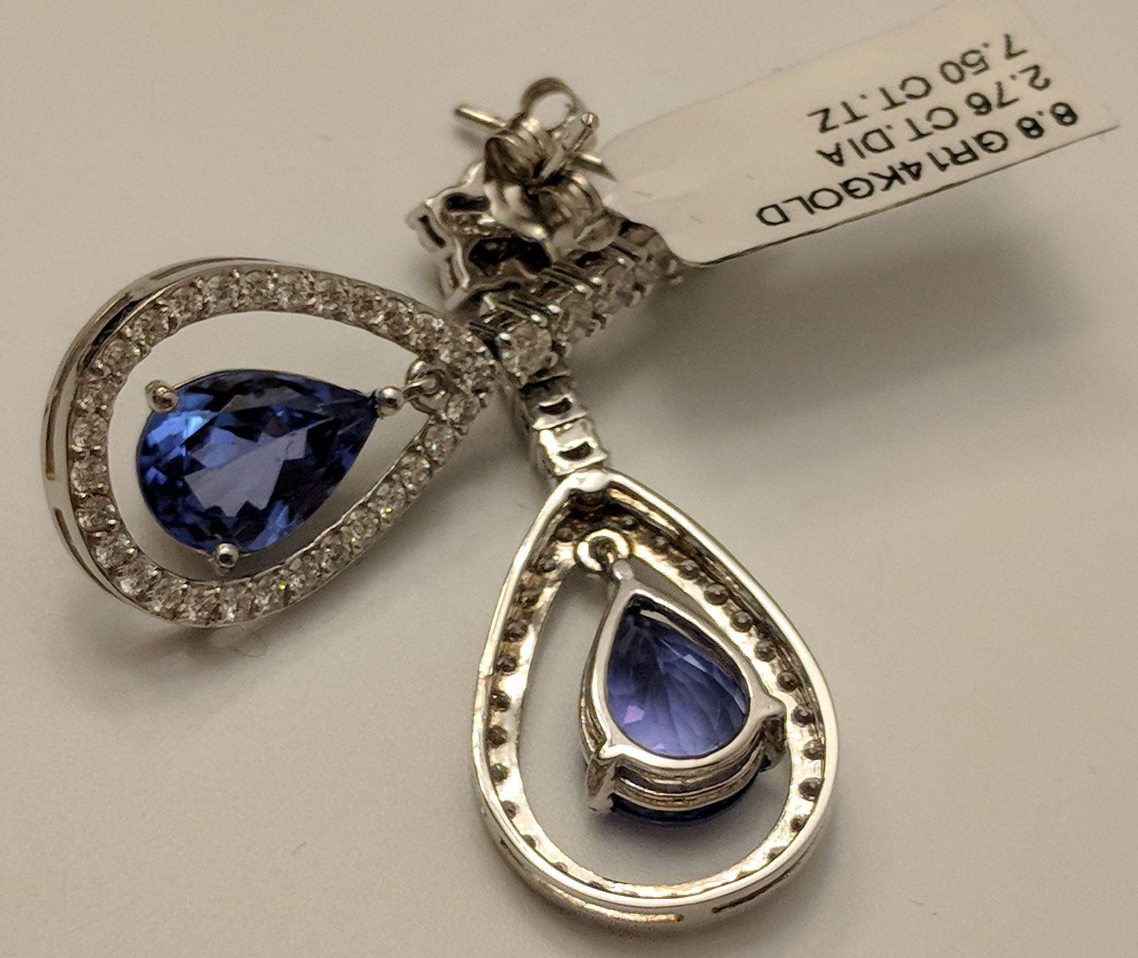 Ruby or Tanzanite & Diamond Earrings, 14K Gold!  2.75cts of Dazzling Diamonds an
