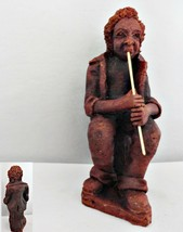 Folk Art Red Clay Figurine of Musician Playing a Wind Pipe - $18.69