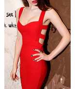 Womens Bandage Party Dress - All Red - $50.00