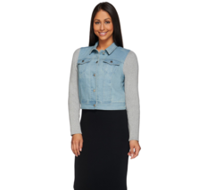 LIZ Claiborne New York Denim Jacket WITH Sweater Knit Sleeves, Women's Size 14 - $36.00