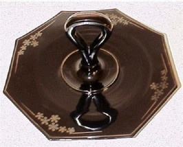 Black Glass Center Server Handle Plate CHS Beaumont Flowers  Plate Tray - $21.99