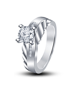 New & Fashion Women's White Gold Plated Lab Created Diamond Wedding Ring - $67.99