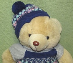 "Vintage Commonwealth McCrory Co. TEDDY BEAR Blue Knit Hat Sweater Tan 20"" Long - $23.36"