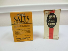 VINTAGE/ANTIQUE NYAL'S SALTS LAXATIVE ADVERTISING HAZEL ATLAS & HINDS CREAM - $20.00