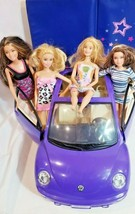 Barbie vintage purple convertible beetle bug VW car + dolls disney mattel - $29.39