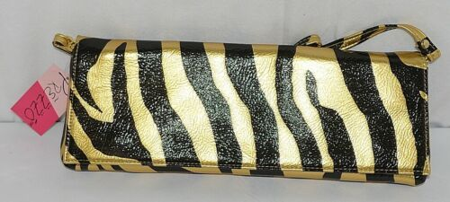 Prezzo Brand Style 3208 Black Gold Zebra Striped Clutch Purse Removable Strap