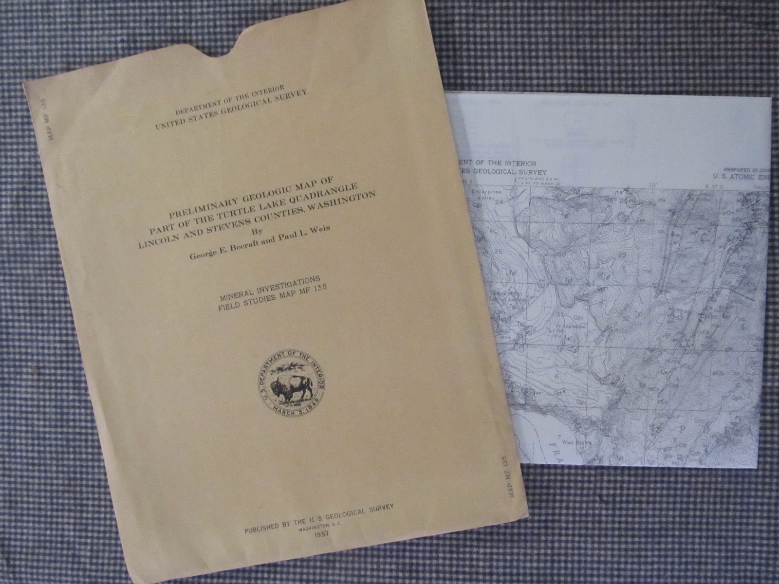 Primary image for Vtg map 1957  Turtle Lake, Washington mineral survey Department of Interior