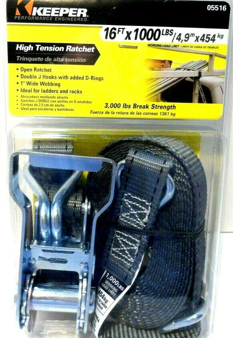 Primary image for Keeper 05516  High Tension Ratchet Tie Down Strap Gray 1000lbs. 16ft. x 1 in.!
