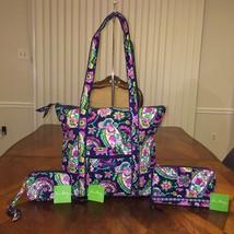 NWT Vera Bradley 3 pcs Lot Villager Bag Turn Lock Wallet & Tech Case Pet... - $102.60